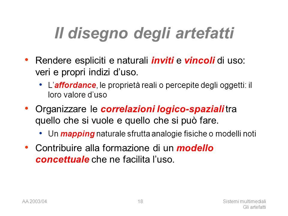 AA 2003/04Sistemi multimediali Gli artefatti 18 Il disegno degli artefatti Rendere espliciti e naturali inviti e vincoli di uso: veri e propri indizi duso.