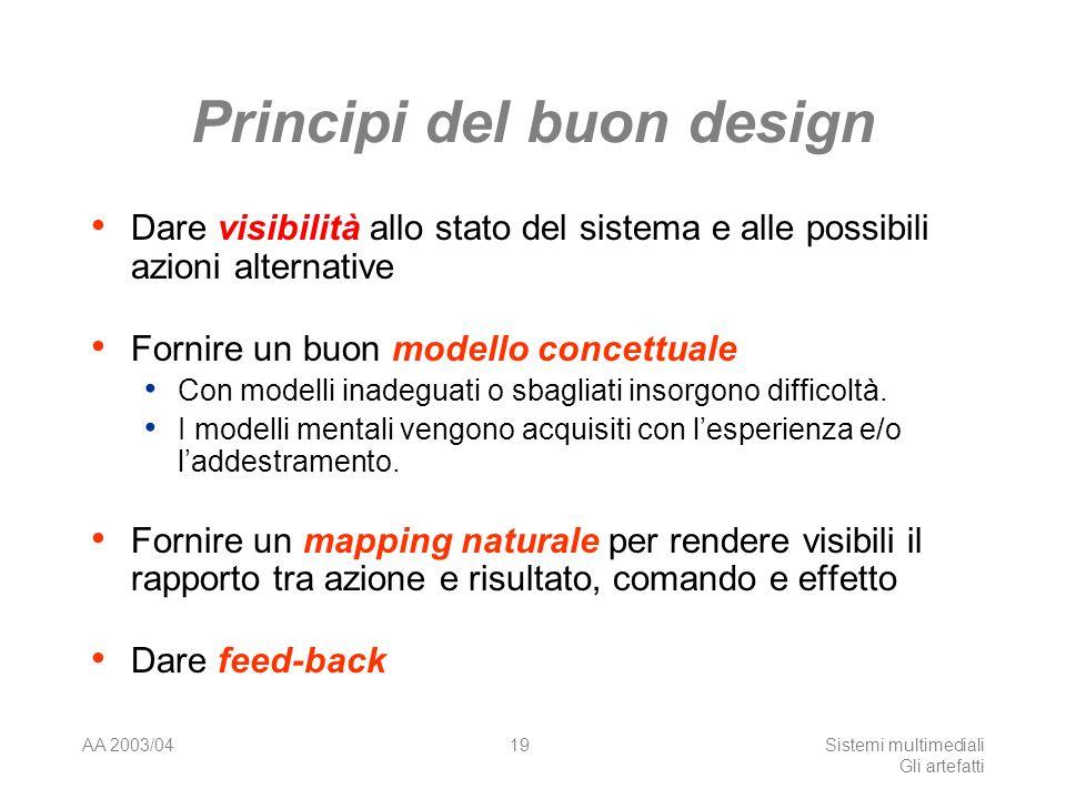 AA 2003/04Sistemi multimediali Gli artefatti 19 Principi del buon design Dare visibilità allo stato del sistema e alle possibili azioni alternative Fo