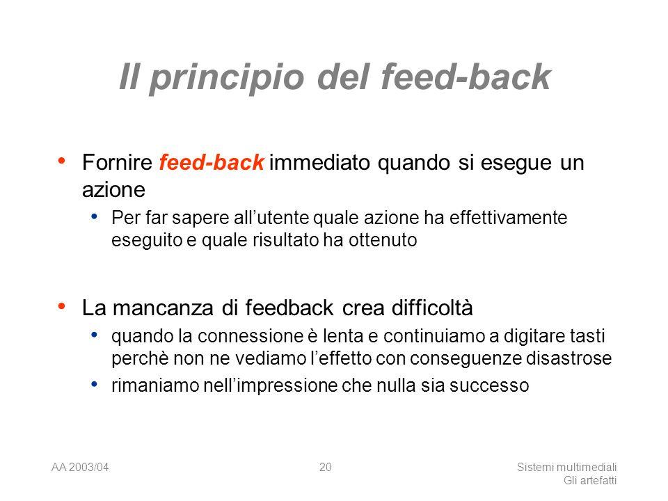 AA 2003/04Sistemi multimediali Gli artefatti 20 Il principio del feed-back Fornire feed-back immediato quando si esegue un azione Per far sapere allut