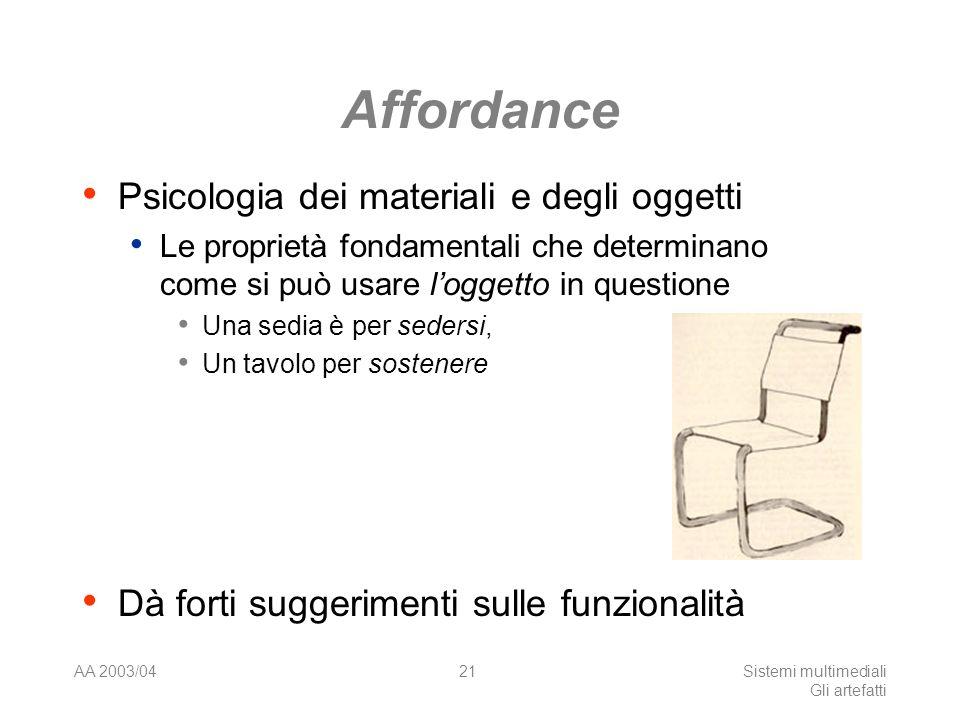 AA 2003/04Sistemi multimediali Gli artefatti 21 Affordance Psicologia dei materiali e degli oggetti Le proprietà fondamentali che determinano come si può usare loggetto in questione Una sedia è per sedersi, Un tavolo per sostenere Dà forti suggerimenti sulle funzionalità