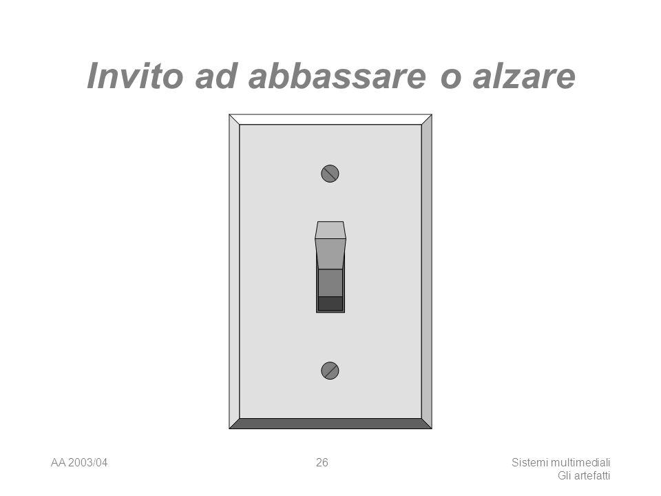 AA 2003/04Sistemi multimediali Gli artefatti 26 Invito ad abbassare o alzare