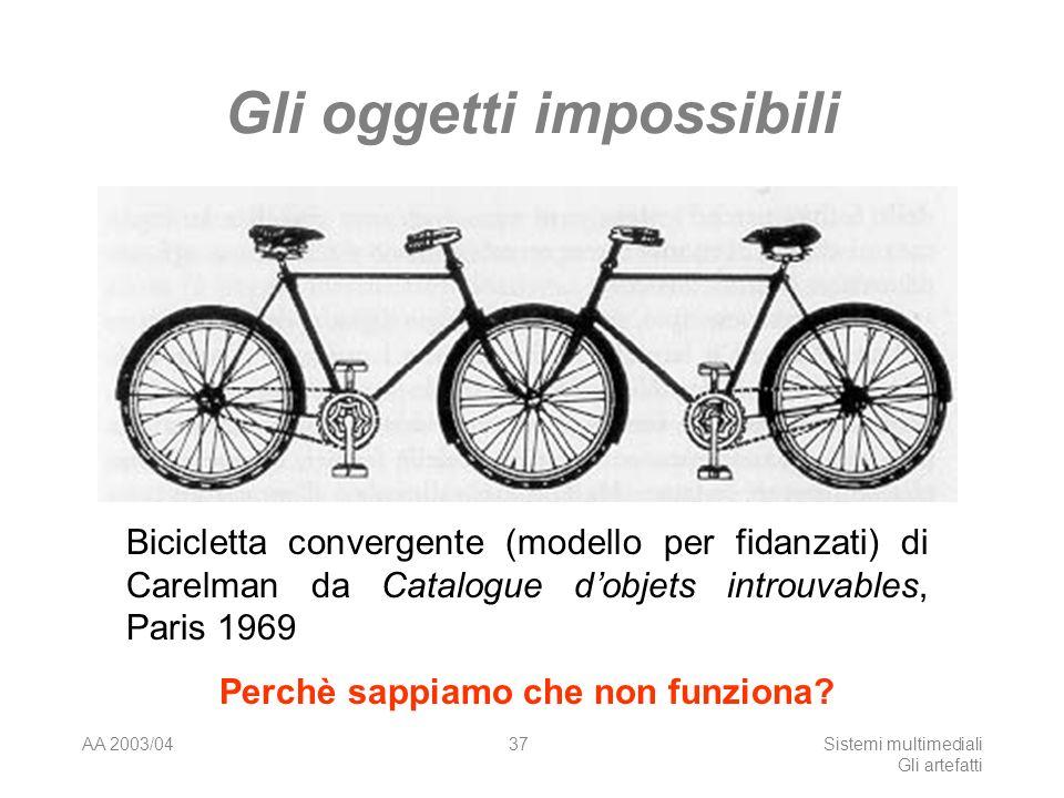 AA 2003/04Sistemi multimediali Gli artefatti 37 Gli oggetti impossibili Bicicletta convergente (modello per fidanzati) di Carelman da Catalogue dobjets introuvables, Paris 1969 Perchè sappiamo che non funziona?