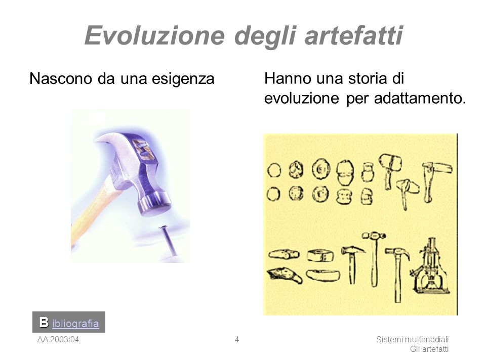 AA 2003/04Sistemi multimediali Gli artefatti 4 Evoluzione degli artefatti Nascono da una esigenza Hanno una storia di evoluzione per adattamento. B ib