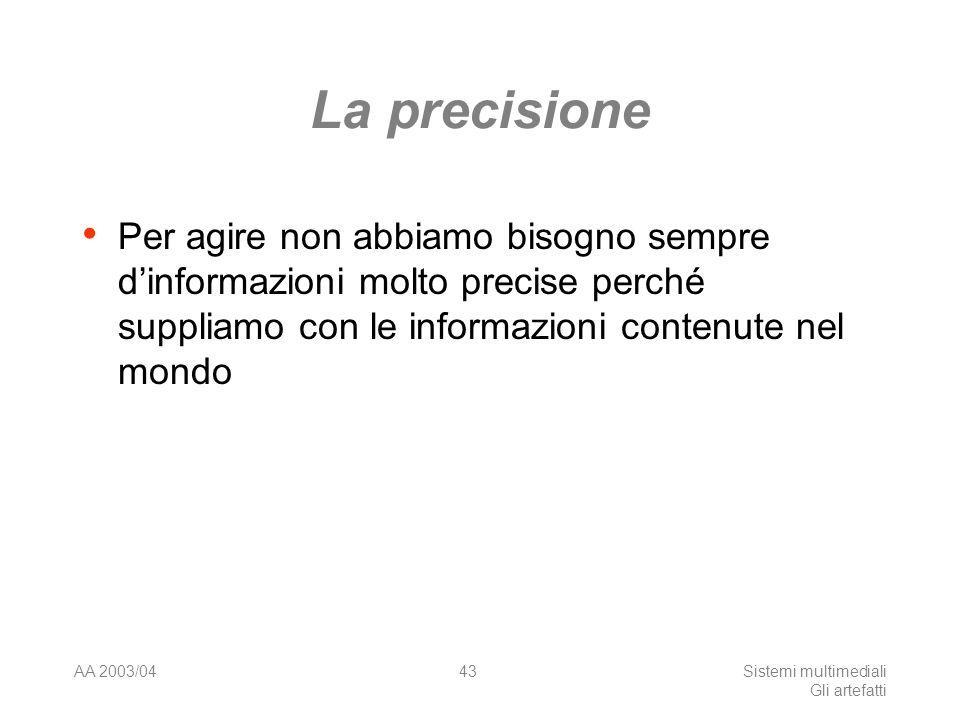AA 2003/04Sistemi multimediali Gli artefatti 43 La precisione Per agire non abbiamo bisogno sempre dinformazioni molto precise perché suppliamo con le informazioni contenute nel mondo