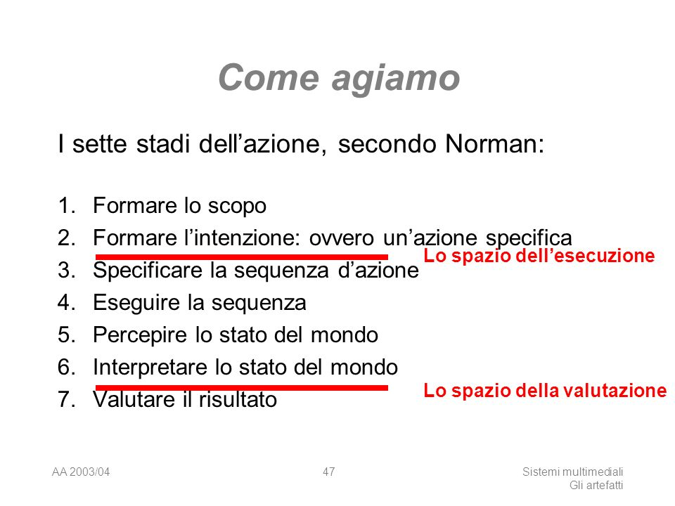 AA 2003/04Sistemi multimediali Gli artefatti 47 Come agiamo I sette stadi dellazione, secondo Norman: 1.Formare lo scopo 2. Formare lintenzione: ovver