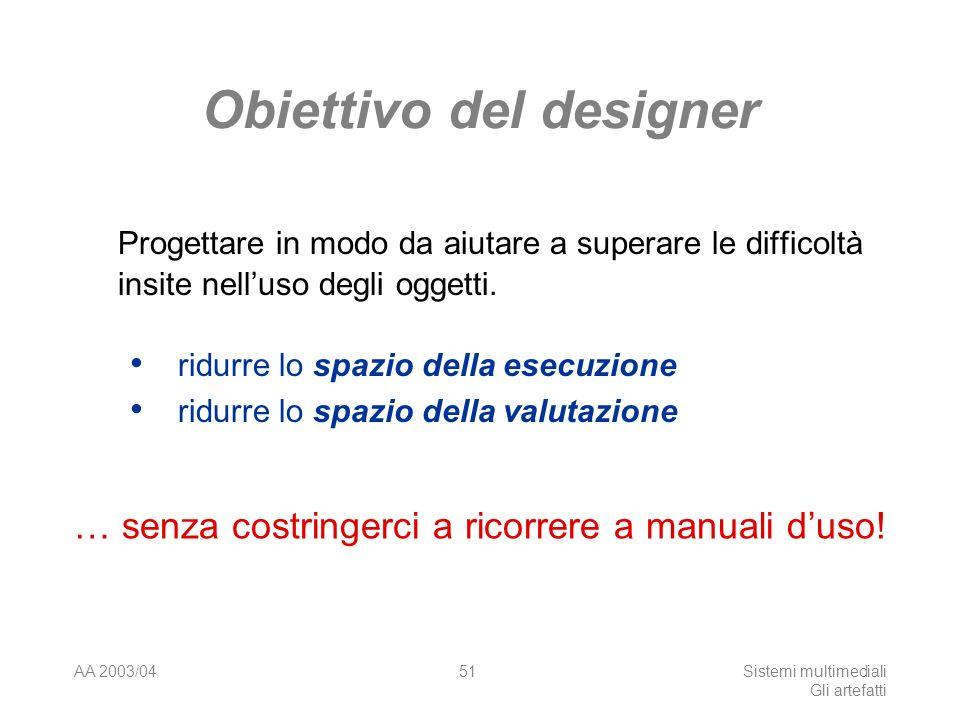AA 2003/04Sistemi multimediali Gli artefatti 51 Obiettivo del designer Progettare in modo da aiutare a superare le difficoltà insite nelluso degli oggetti.