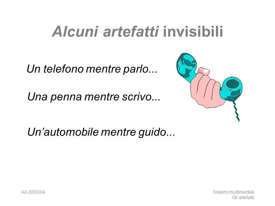 AA 2003/04Sistemi multimediali Gli artefatti Alcuni artefatti invisibili Un telefono mentre parlo... Una penna mentre scrivo... Unautomobile mentre gu