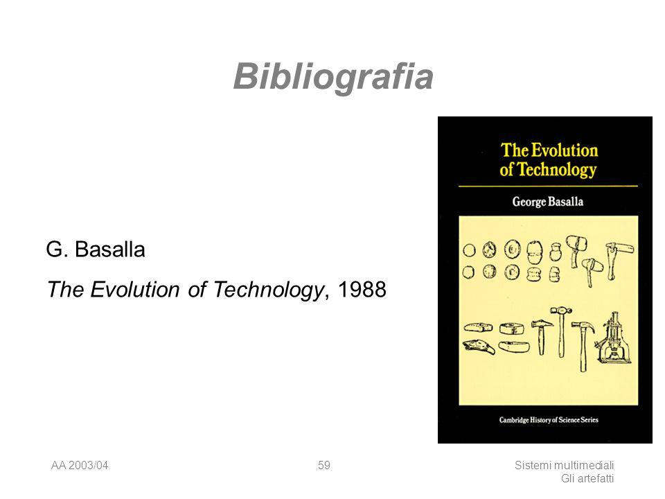 AA 2003/04Sistemi multimediali Gli artefatti 59 Bibliografia G. Basalla The Evolution of Technology, 1988