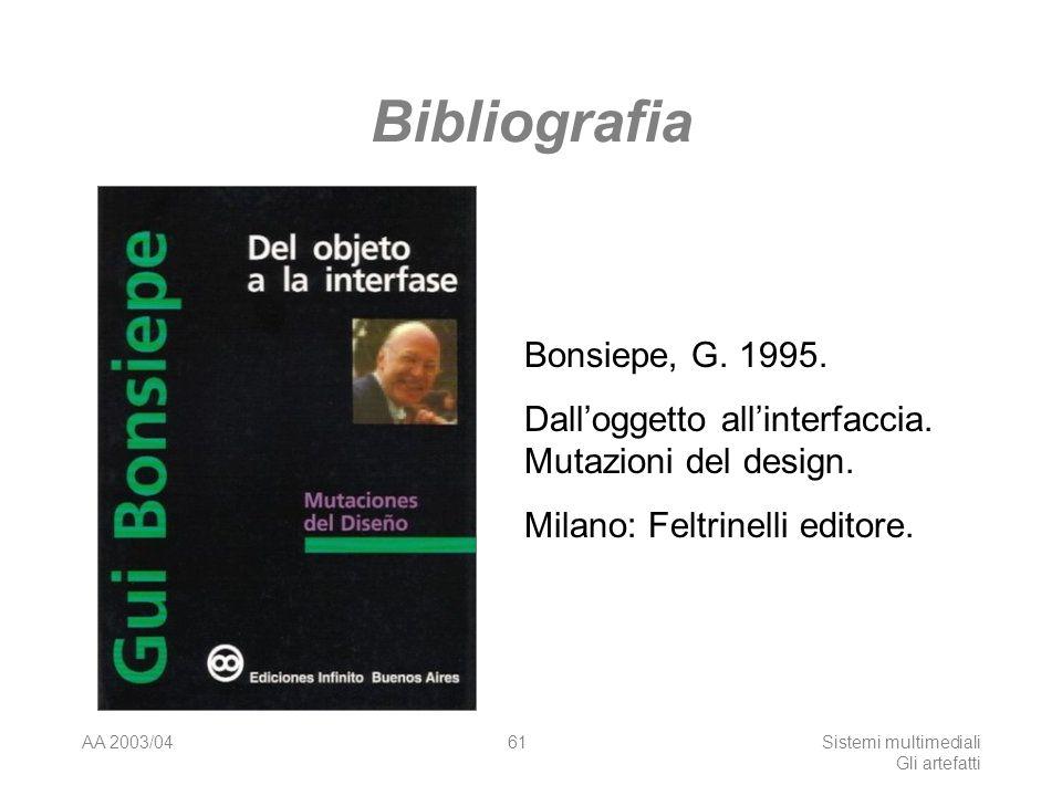 AA 2003/04Sistemi multimediali Gli artefatti 61 Bibliografia Bonsiepe, G. 1995. Dalloggetto allinterfaccia. Mutazioni del design. Milano: Feltrinelli