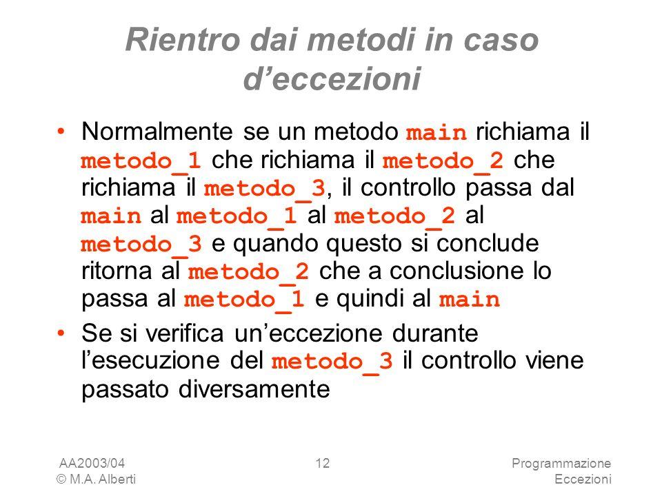 AA2003/04 © M.A. Alberti Programmazione Eccezioni 12 Rientro dai metodi in caso deccezioni Normalmente se un metodo main richiama il metodo_1 che rich