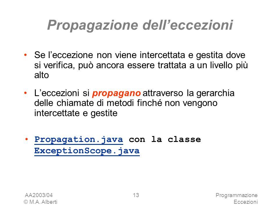 AA2003/04 © M.A. Alberti Programmazione Eccezioni 13 Propagazione delleccezioni Se leccezione non viene intercettata e gestita dove si verifica, può a