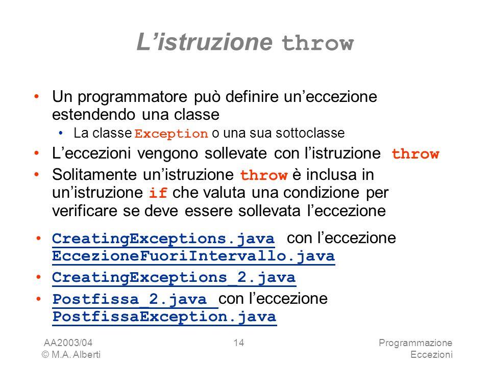 AA2003/04 © M.A. Alberti Programmazione Eccezioni 14 Listruzione throw Un programmatore può definire uneccezione estendendo una classe La classe Excep