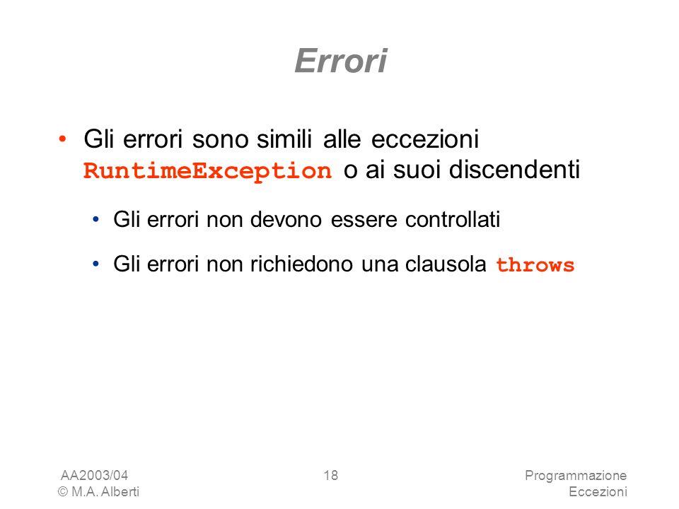 AA2003/04 © M.A. Alberti Programmazione Eccezioni 18 Errori Gli errori sono simili alle eccezioni RuntimeException o ai suoi discendenti Gli errori no