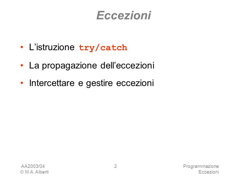 AA2003/04 © M.A. Alberti Programmazione Eccezioni 2 Listruzione try/catch La propagazione delleccezioni Intercettare e gestire eccezioni