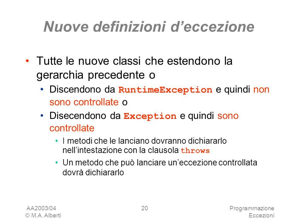 AA2003/04 © M.A. Alberti Programmazione Eccezioni 20 Nuove definizioni deccezione Tutte le nuove classi che estendono la gerarchia precedente o Discen