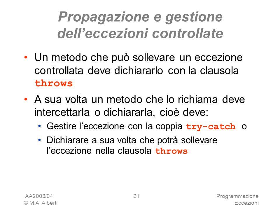 AA2003/04 © M.A. Alberti Programmazione Eccezioni 21 Propagazione e gestione delleccezioni controllate Un metodo che può sollevare un eccezione contro