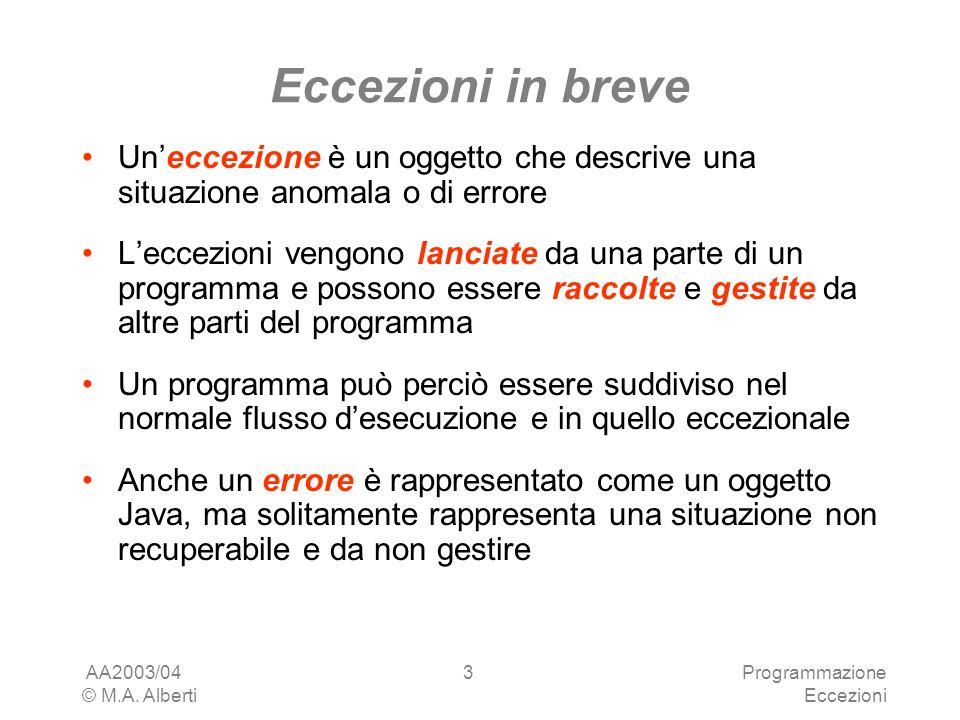 AA2003/04 © M.A. Alberti Programmazione Eccezioni 3 Eccezioni in breve Uneccezione è un oggetto che descrive una situazione anomala o di errore Leccez