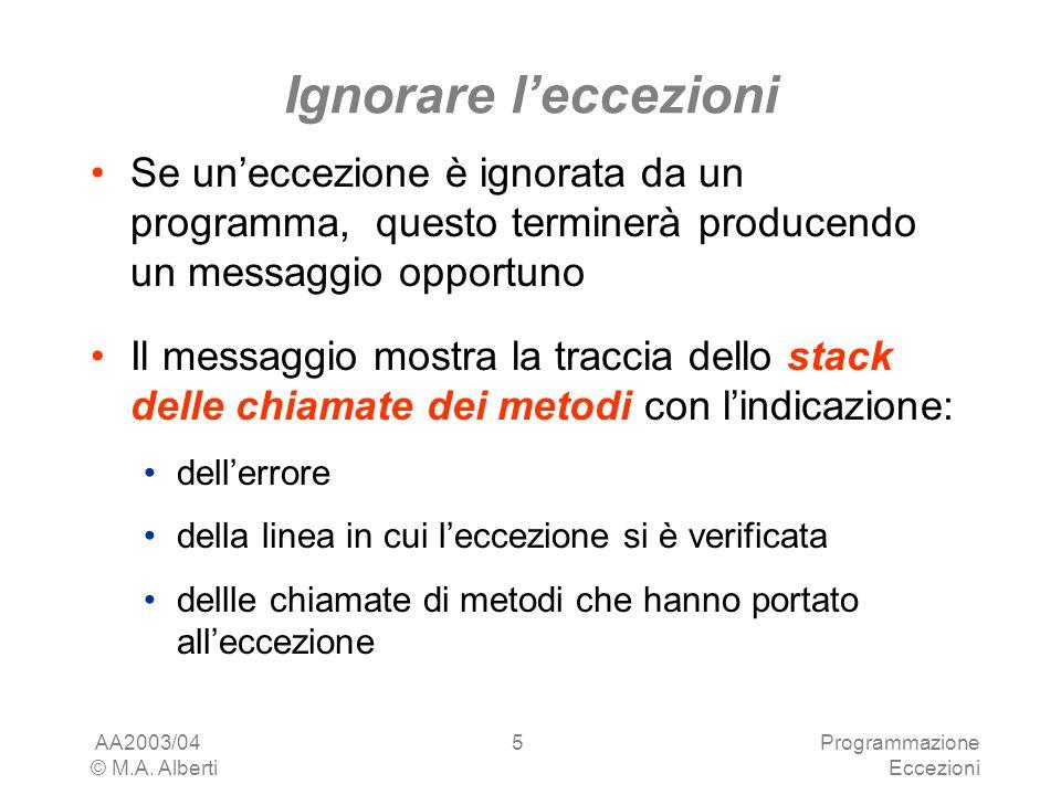 AA2003/04 © M.A. Alberti Programmazione Eccezioni 5 Ignorare leccezioni Se uneccezione è ignorata da un programma, questo terminerà producendo un mess