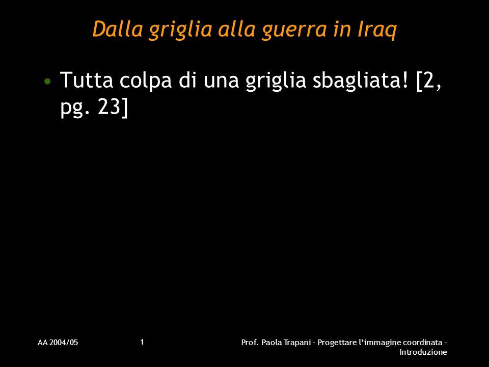 AA 2004/05Prof. Paola Trapani – Progettare limmagine coordinata - Introduzione 1 Dalla griglia alla guerra in Iraq Tutta colpa di una griglia sbagliat