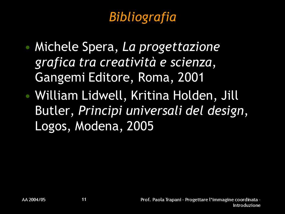 AA 2004/05Prof. Paola Trapani – Progettare limmagine coordinata - Introduzione 11 Bibliografia Michele Spera, La progettazione grafica tra creatività