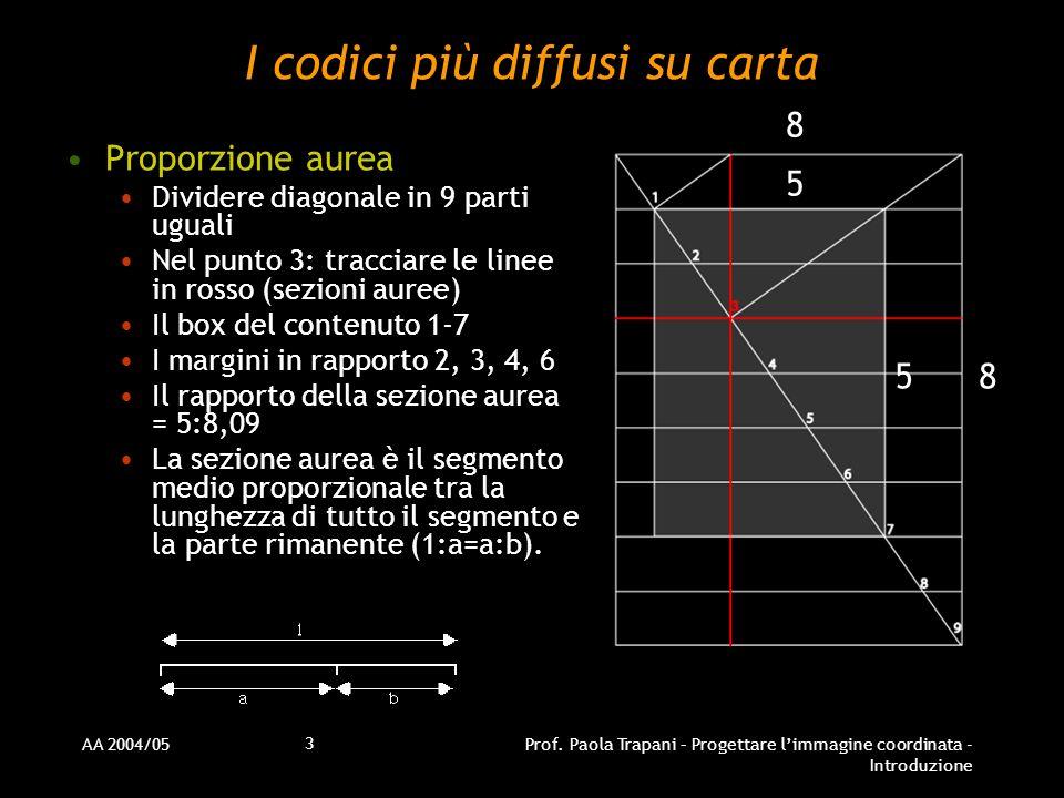 AA 2004/05Prof. Paola Trapani – Progettare limmagine coordinata - Introduzione 3 I codici più diffusi su carta Proporzione aurea Dividere diagonale in