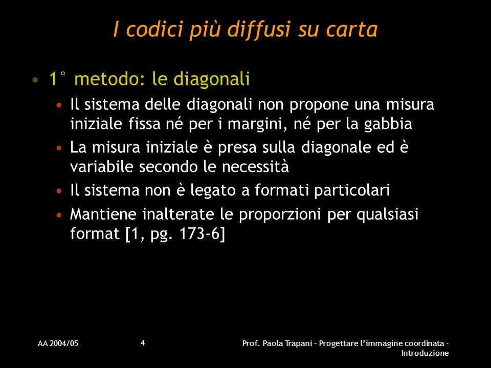 AA 2004/05Prof. Paola Trapani – Progettare limmagine coordinata - Introduzione 4 I codici più diffusi su carta 1° metodo: le diagonali Il sistema dell