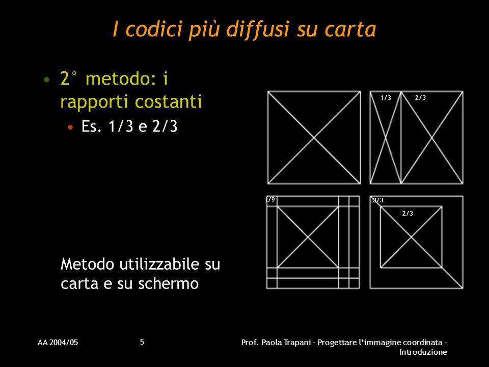 AA 2004/05Prof. Paola Trapani – Progettare limmagine coordinata - Introduzione 5 I codici più diffusi su carta 2° metodo: i rapporti costanti Es. 1/3