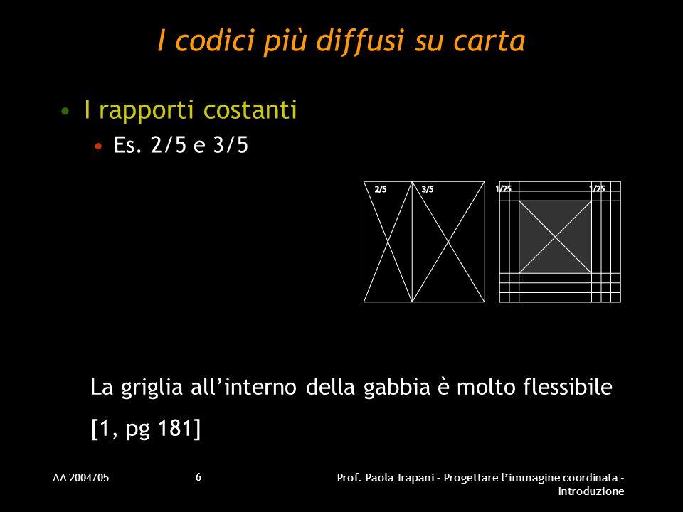 AA 2004/05Prof. Paola Trapani – Progettare limmagine coordinata - Introduzione 6 I codici più diffusi su carta I rapporti costanti Es. 2/5 e 3/5 La gr