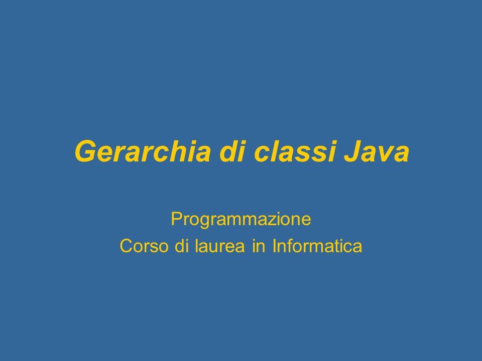Gerarchia di classi Java Programmazione Corso di laurea in Informatica