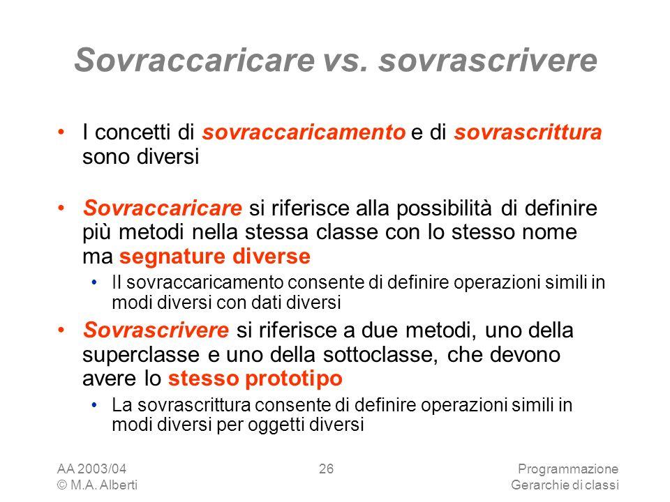 AA 2003/04 © M.A.Alberti Programmazione Gerarchie di classi 26 Sovraccaricare vs.