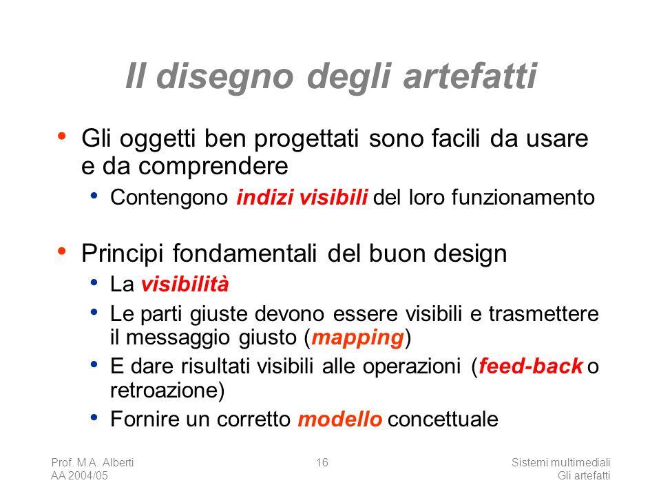 Prof. M.A. Alberti AA 2004/05 Sistemi multimediali Gli artefatti 16 Il disegno degli artefatti Gli oggetti ben progettati sono facili da usare e da co