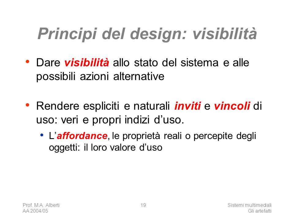 Prof. M.A. Alberti AA 2004/05 Sistemi multimediali Gli artefatti 19 Principi del design: visibilità Dare visibilità allo stato del sistema e alle poss