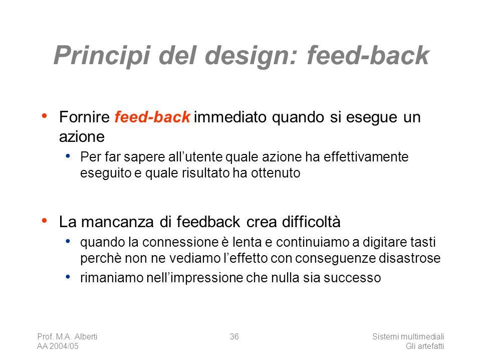 Prof. M.A. Alberti AA 2004/05 Sistemi multimediali Gli artefatti 36 Principi del design: feed-back Fornire feed-back immediato quando si esegue un azi