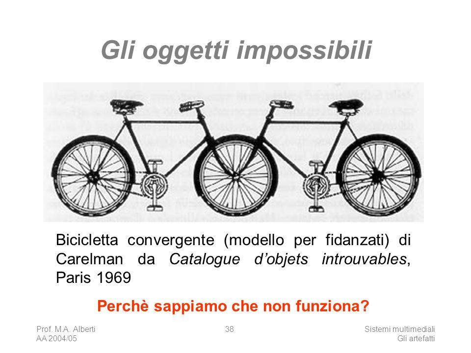 Prof. M.A. Alberti AA 2004/05 Sistemi multimediali Gli artefatti 38 Gli oggetti impossibili Bicicletta convergente (modello per fidanzati) di Carelman