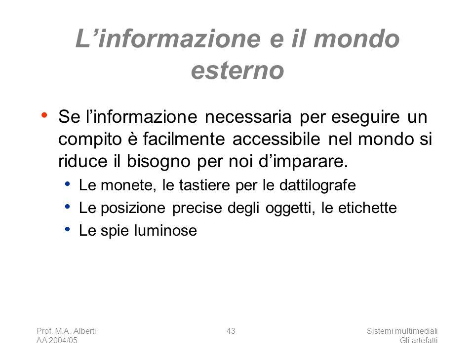 Prof. M.A. Alberti AA 2004/05 Sistemi multimediali Gli artefatti 43 Linformazione e il mondo esterno Se linformazione necessaria per eseguire un compi
