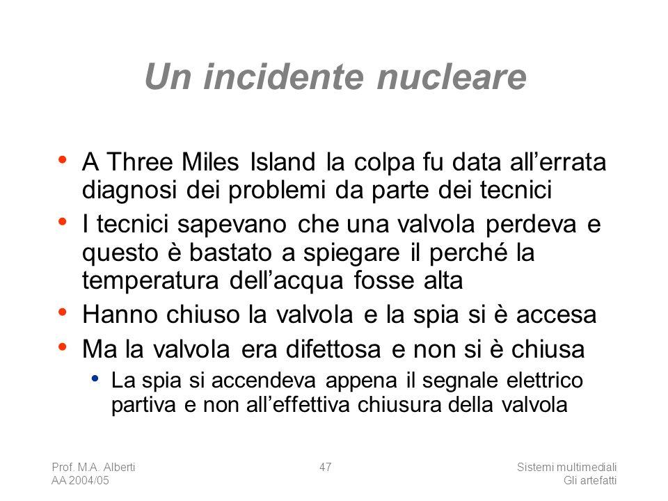 Prof. M.A. Alberti AA 2004/05 Sistemi multimediali Gli artefatti 47 Un incidente nucleare A Three Miles Island la colpa fu data allerrata diagnosi dei