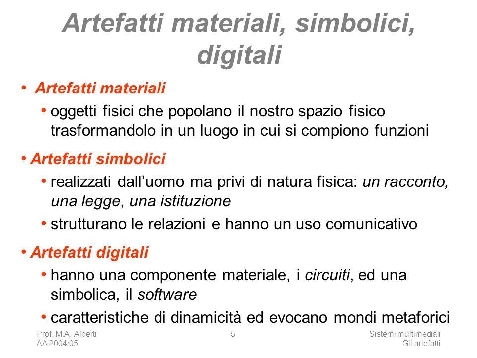 Prof. M.A. Alberti AA 2004/05 Sistemi multimediali Gli artefatti 5 Artefatti materiali, simbolici, digitali Artefatti materiali oggetti fisici che pop