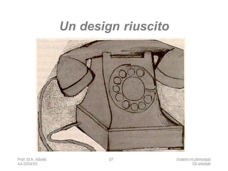 Prof. M.A. Alberti AA 2004/05 Sistemi multimediali Gli artefatti 57 Un design riuscito