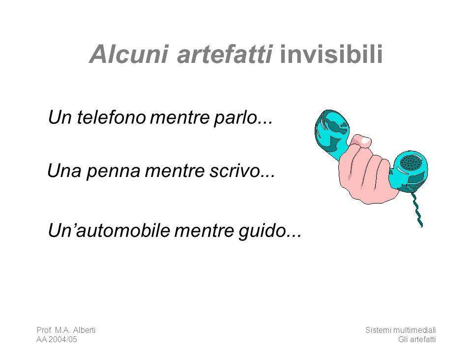 Prof. M.A. Alberti AA 2004/05 Sistemi multimediali Gli artefatti Alcuni artefatti invisibili Un telefono mentre parlo... Una penna mentre scrivo... Un