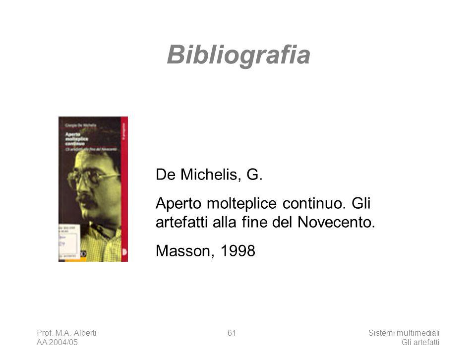 Prof. M.A. Alberti AA 2004/05 Sistemi multimediali Gli artefatti 61 Bibliografia De Michelis, G. Aperto molteplice continuo. Gli artefatti alla fine d