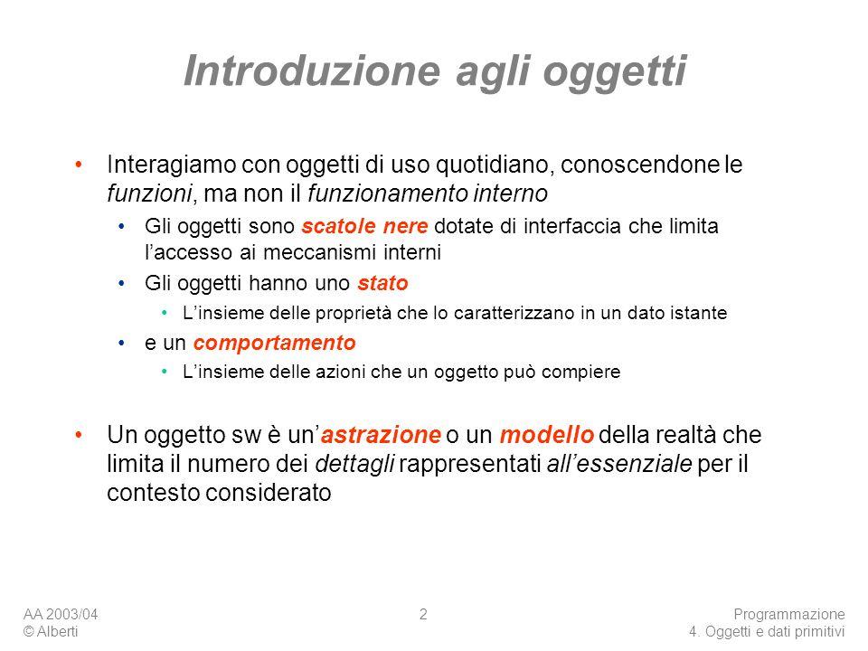 AA 2003/04 © Alberti Programmazione 4. Oggetti e dati primitivi 2 Introduzione agli oggetti Interagiamo con oggetti di uso quotidiano, conoscendone le