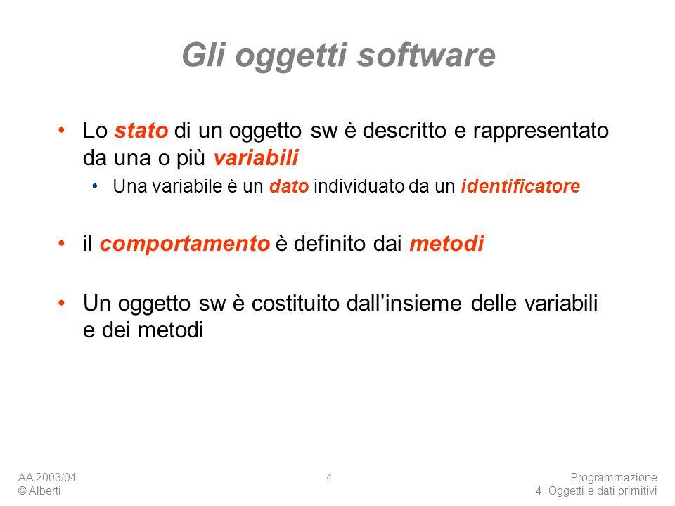 AA 2003/04 © Alberti Programmazione 4. Oggetti e dati primitivi 4 Gli oggetti software Lo stato di un oggetto sw è descritto e rappresentato da una o