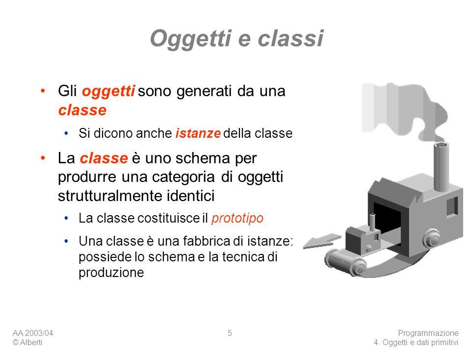 AA 2003/04 © Alberti Programmazione 4. Oggetti e dati primitivi 5 Oggetti e classi Gli oggetti sono generati da una classe Si dicono anche istanze del