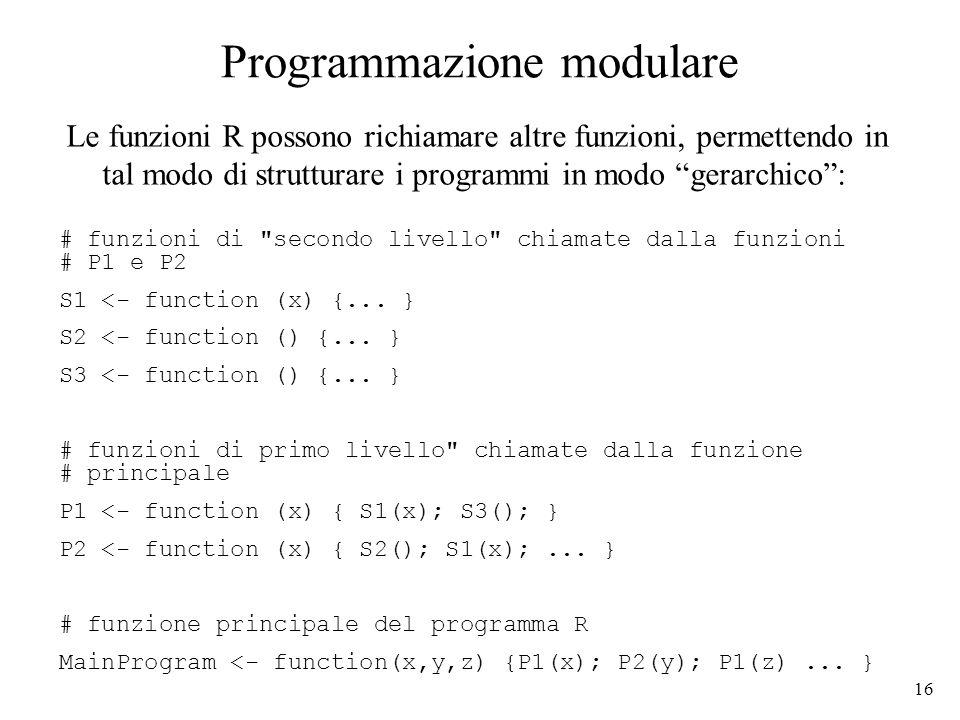 16 Programmazione modulare Le funzioni R possono richiamare altre funzioni, permettendo in tal modo di strutturare i programmi in modo gerarchico: # funzioni di secondo livello chiamate dalla funzioni # P1 e P2 S1 <- function (x) {...