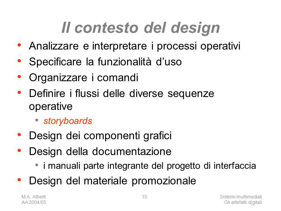 M.A. Alberti AA 2004/05 Sistemi multimediali Gli artefatti digitali 10 Il contesto del design Analizzare e interpretare i processi operativi Specifica