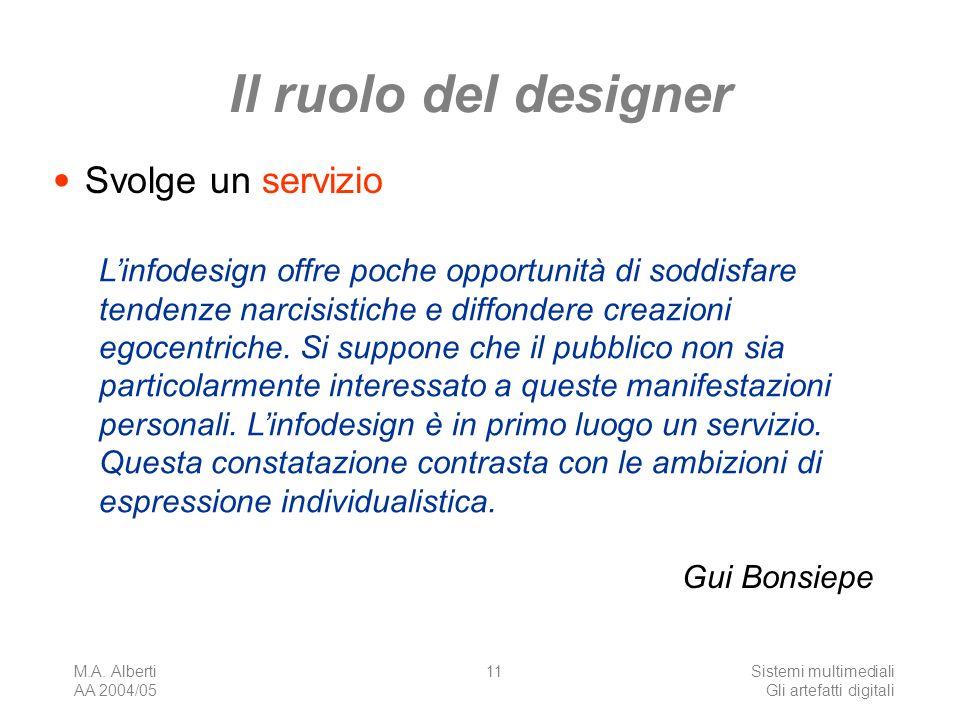 M.A. Alberti AA 2004/05 Sistemi multimediali Gli artefatti digitali 11 Il ruolo del designer Svolge un servizio Linfodesign offre poche opportunità di