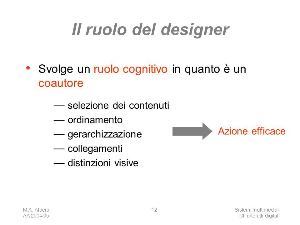 M.A. Alberti AA 2004/05 Sistemi multimediali Gli artefatti digitali 12 Il ruolo del designer Svolge un ruolo cognitivo in quanto è un coautore selezio