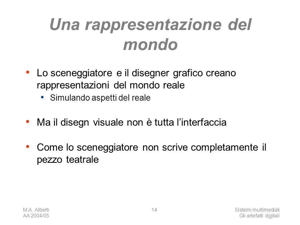 M.A. Alberti AA 2004/05 Sistemi multimediali Gli artefatti digitali 14 Una rappresentazione del mondo Lo sceneggiatore e il disegner grafico creano ra