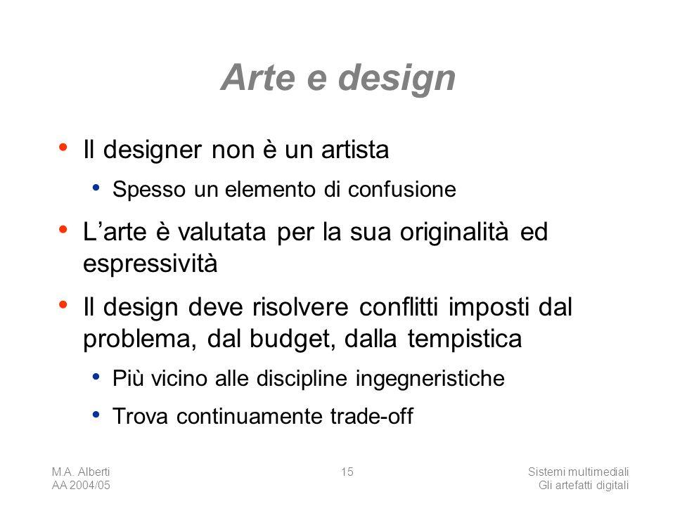 M.A. Alberti AA 2004/05 Sistemi multimediali Gli artefatti digitali 15 Arte e design Il designer non è un artista Spesso un elemento di confusione Lar