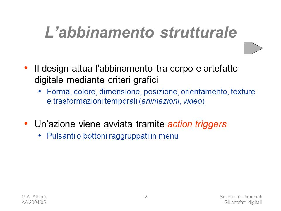 M.A. Alberti AA 2004/05 Sistemi multimediali Gli artefatti digitali 73